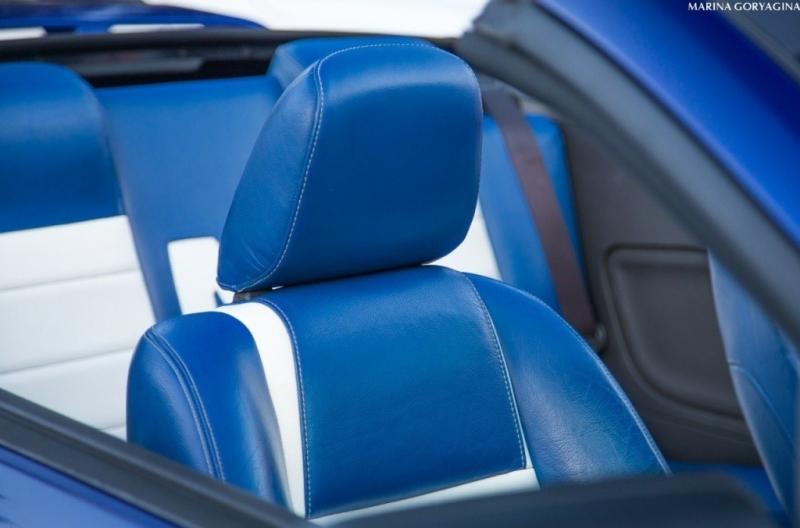 Кожаный синий салон кабриолета